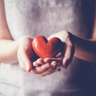 Frauenhände halten ein rotes Herz